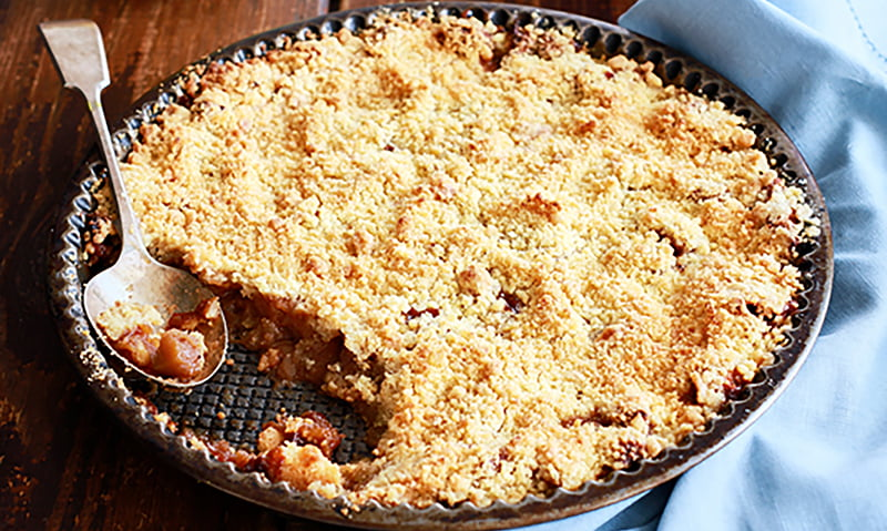 Cardamom Infused Apple Crumble with Crushed Almond and Pistachio Custard image